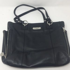 Coach Gallery black leather zip tote